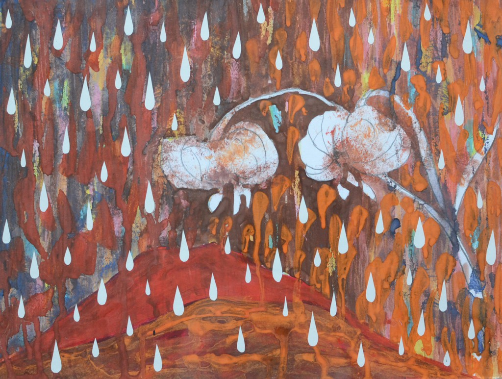 Blomster, regnvejr, brunt, rødt, poesi, dråber, tårer