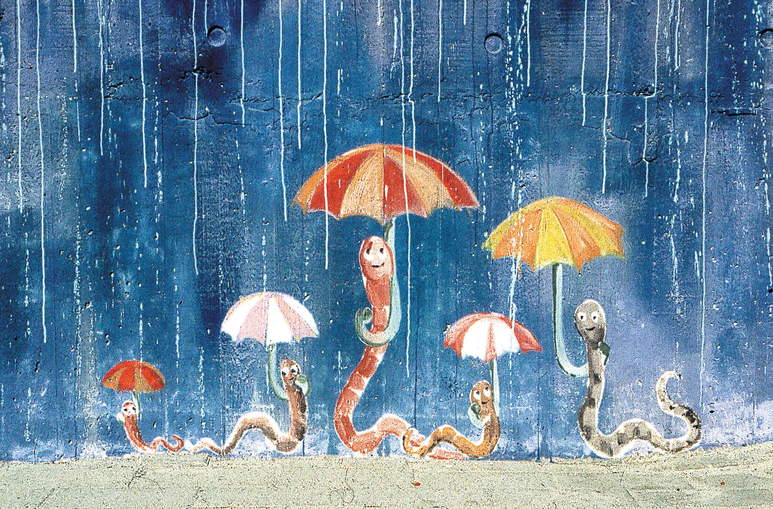Regnorm, paraply, regn, børnehave, vægmaleri